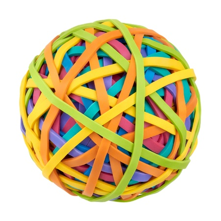 rubber bands: Rubber bands for money on a white background  Symbol of globalization, diversity and complexity of the modern world