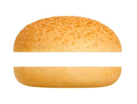 burger on bun: Hamburger bun on a white background