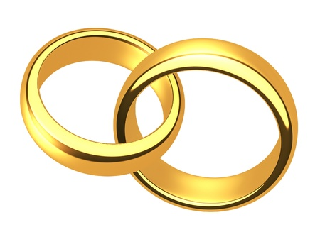 Wedding gold rings on a white background photo
