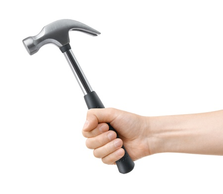 grasp: hand hold hammer on a white background