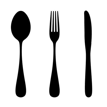 spoon: Spoon, fork and knife. Vector silhouette.