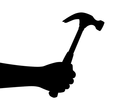 leverage: Hand hold hammer. Vector silhouette. Illustration