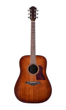 흰색 배경에 어쿠스틱 기타
