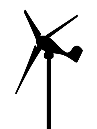 windpower: Windmill, vector silhouette on a white background