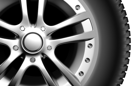 tire shop: Car wheel on a white background