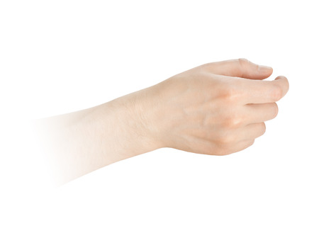 grabbing hand: hand hold something on a white background Stock Photo