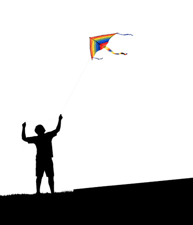 weightless: man and kite on a white background