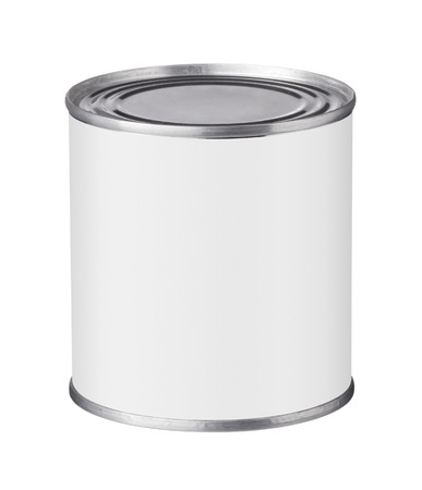 tin can with a blank label on a white background Фото со стока