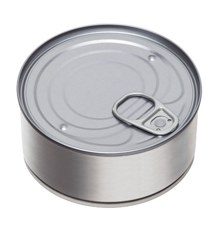 tinned: tin can on a white background Stock Photo