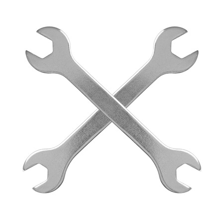 spanners: Two hand wrench tools on a white background Stock Photo