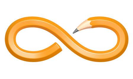 signo infinito: Lápiz en forma de un signo de infinito