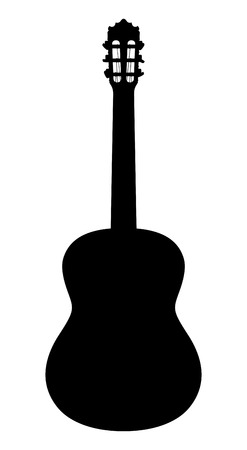 Acoustic guitar. Vector silhouette on a white background. 向量圖像