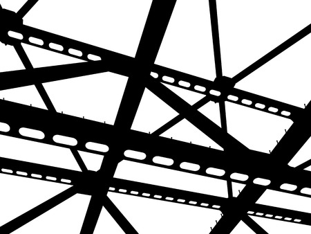 Vector silhouette of steel beams. Fragment construction site. Vettoriali
