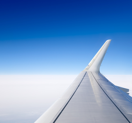 airfoil: Wing of the plane. View from the porthole.