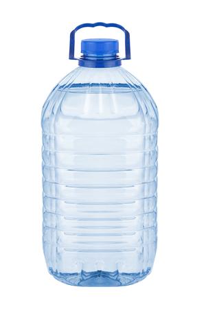 Gran botella de plástico con agua en el fondo blanco Foto de archivo - 29949220