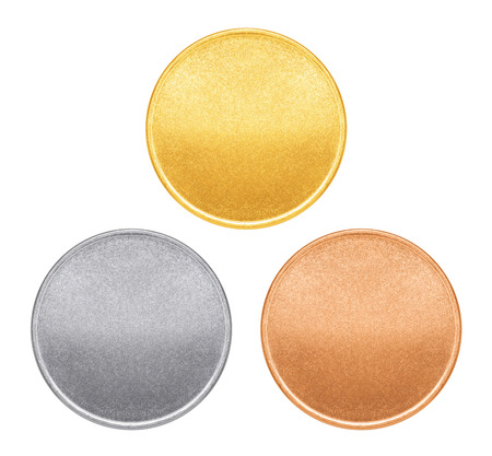 Blank templates for coins or medals with metal texture photo