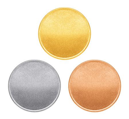 Plantillas en blanco para monedas o medallas con la textura del metal Foto de archivo - 29925424