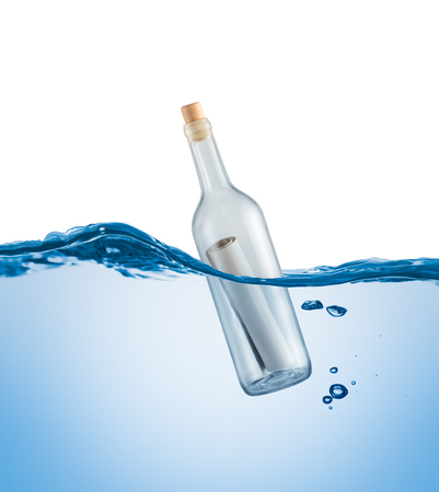 Bottle with a letter in the water on a white background