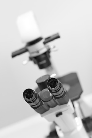 eyepiece: microscope in the laboratory