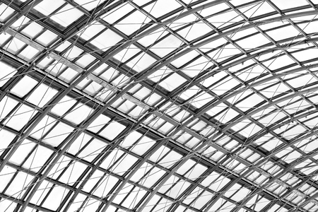 steelwork: metal frame of the roof, fragment of modern building Stock Photo