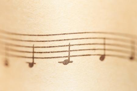 partition musique: Notes de musique sur papier. Fragment de la gamme Un mineur.