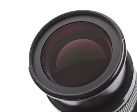 pry: Camera photo lens on a white background