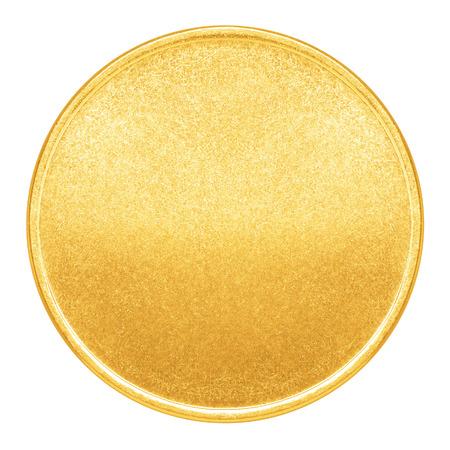 Lege sjabloon voor gouden munt of medaille met metalen structuur
