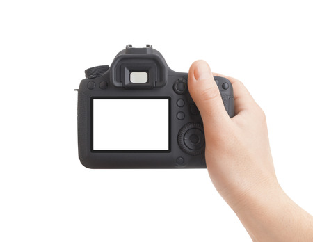 Camera in hand on white background Stockfoto