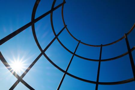 solar flare: Steel beams with solar flare. Fragment modern construction. Stock Photo