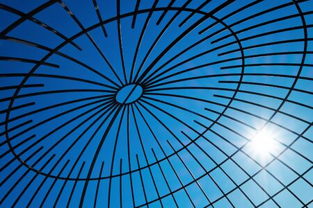 steelwork: Steel beams with solar flare. Fragment modern construction. Stock Photo