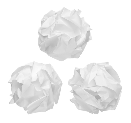 creasy: crumpled paper balls isolated on white background Stock Photo
