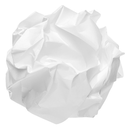 creasy: crumpled paper ball isolated on white background