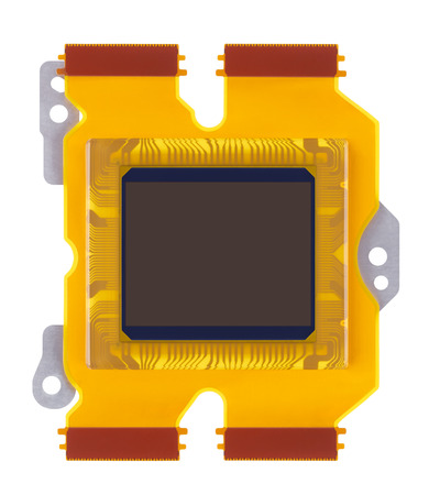 ccd: sensor of digital camera close-up on a white background