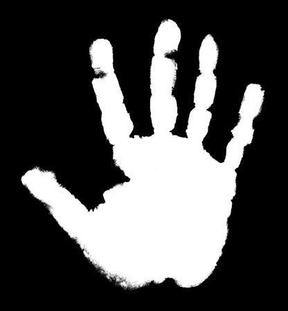 White handprint on a black background photo