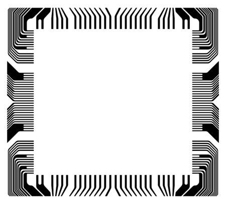 vector frame with fragment microchip on a white background