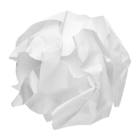 crinkly: crumpled paper ball isolated on white background