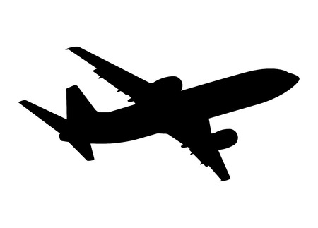 plane silhouette on a white background, vector illustration Stock Illustratie