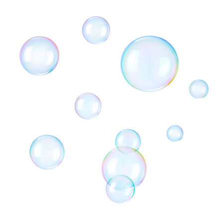 jabon: Burbujas de jabón en un blanco Foto de archivo