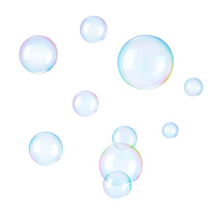 Soap bubbles on a white  Stockfoto