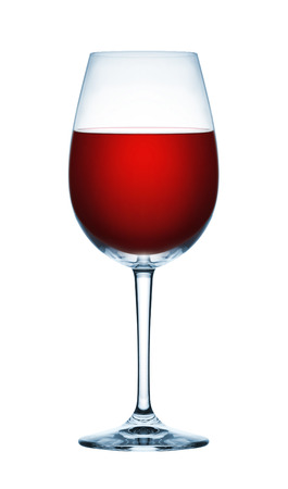 white red: Red wine glass on white background