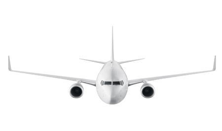 frontal view: Passenger airplane isolated on white background