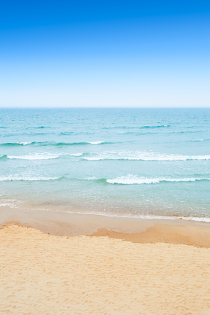 scenic  landscape: Sandy beach, sea and sky