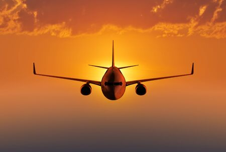 air plane: Passenger airplane flying in the evening or morning sky