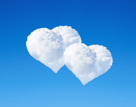 romance sky: Two clouds in the shape of heart in blue sky