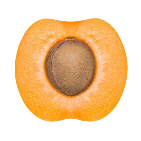 half: half of apricot isolated on white background