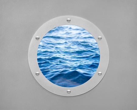 round porthole and sea wave