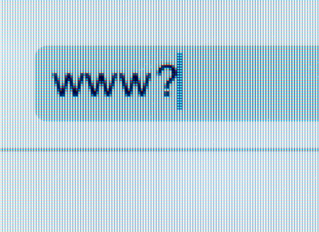 internet browser: address bar of the Internet browser with a question mark on computer screen