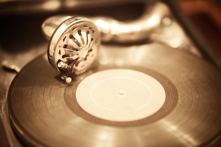 gramophone and vinyl record close up