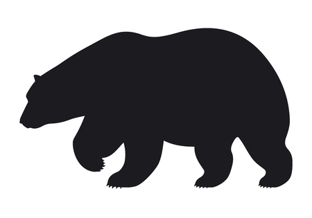 Silhouette bear on white background, vector illustration Çizim