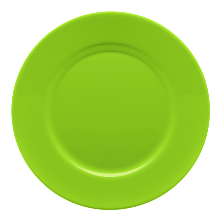 Green plate isolated on white background